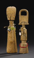 African: , Fante (Ghana). (A)Child Figure. Wood, fiber, beads, cowry shell.Height: 8 ¾ inches Width: 2 3/16 inches . Analogous to ...