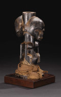 African: , Hemba (Democratic Republic of Congo). Janus Half-Figure. Wood, raffia fiber, pigment, offering substance residue. Height: 10...