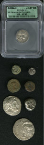 Ancient Lots: , Ancient Lots: Lot of eight miscellaneous ancient coins. Includes:Attica, Athens. AR tetradrachm. New Style // Aigina. AR stater.Early T-... (Total: 8 Coins Item)