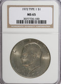 Eisenhower Dollars, 1972 $1 Type One MS65 NGC. NGC Census: (788/22). PCGS Population (351/14). Mintage: 75,890,000. Numismedia Wsl. Price for N...