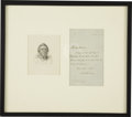 """Autographs:Authors, William M. Thackeray Autograph Letter Signed """"W MThackeray"""". One page, 4"""" x 6.5"""" matted and framed to an overallsize ..."""