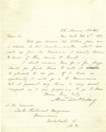 "Autographs:Military Figures, Abner Doubleday Autograph Letter Signed. One page, 7.5"" x 9.5"", 5th Avenue Hotel, New York, February 6, 1871. ..."