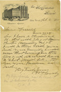 "Autographs:Celebrities, William F. Cody Autograph Letter Signed. One page, 5.75"" x 8.75"",on The Hoffman House letterhead, New York, NY, Februar..."