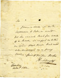 "Autographs:Statesmen, Philip Schuyler Revolutionary War-dated Autograph Letter Signed""Ph. Schuyler"". One page, 6.5"" x 8"", n.p., October 1, 1..."