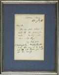 "Autographs:Authors, Matthew Arnold Autograph Letter Signed. One page, 4.5"" x 7"" mounted and framed to an overall size of 8.5"" x 10.5"", Cobham, S..."