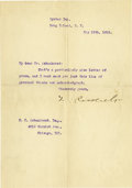 "Autographs:U.S. Presidents, Theodore Roosevelt Typed Letter Signed ""T. Roosevelt"". Onepage, 7"" x 10"", Oyster Bay, Long Island, N.Y., May 15, 1916,..."