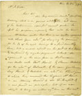 "Autographs:Inventors, James Watt Autograph Letter Signed. Four integral pages with writing on first two, 8"" x 9.25"", ""Birm"" [Birmingham], Janu..."
