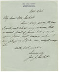 Autographs:Celebrities, James J. Corbett Autographed Letter Signed ...
