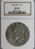 Eisenhower Dollars: , 1976 $1 Type One MS65 NGC. NGC Census: (175/15). PCGS Population(425/21). Mintage: 4,019,000. Numismedia Wsl. Price for NG...