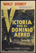 "Movie Posters:War, Victory Through Air Power (United Artists, 1943). ArgentineanPoster (29"" X 43""). War...."