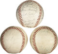 Autographs:Baseballs, 1950-69 Philadelphia Phillies Team Signed Baseballs Lot of 3....(Total: 3 items)