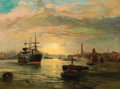 Fine Art - Painting, European, ROBERT ERNEST ROE (British, 1820-1920). Harbor Sunset, 1885. Oil on canvas. 30 x 40 inches (76.2 x 101.6 cm). Signed and...