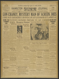 Lon Chaney/Jean Harlow Newspapers (Hamilton Journal, 1930 & 1932). Newspapers (2). Miscellaneous. ... (Total: 2...