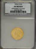 Three Dollar Gold Pieces, 1854-O $3 --Improperly Cleaned--NCS. AU Details....