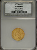 Three Dollar Gold Pieces, 1854-O $3 --Obverse Damage--NCS. XF Details....