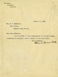 "Autographs:Inventors, Alexander Graham Bell Typed Letter Signed. One page, 8"" x 10.5"",Beinn Bhreagh, October 17, 1906,..."