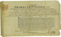 """Autographs:Military Figures, Thomas Chittenden Document Signed. One page partly-printed, 13.25""""x 8"""", October 13, 1794. ..."""