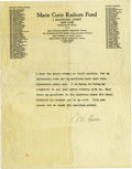 "Autographs:Inventors, Marie Curie Typed Statement Signed, one page, 8.5"" x 11"", onMarie Curie Radium Fund letterhead, [New York City], n.d...."