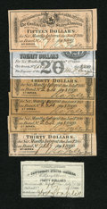 Confederate Notes:Group Lots, Seven Confederate Bond Coupons.. ... (Total: 7 items)