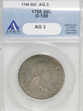 Early Half Dollars: , 1795 50C 2 Leaves AG3 ANACS. O-130. NGC Census: (6/767). PCGSPopulation (15/1157). Mintage: 299,680. Numismedia Wsl. Price...