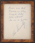 "Autographs:U.S. Presidents, [John F. Kennedy] Lee Harvey Oswald Autograph Quotation Signed""Lee Oswald"". One beige album page, 3.5"" x 4.5"", Beaurega..."