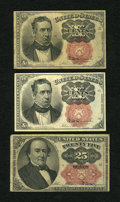 Fractional Currency:Fifth Issue, Short Key Bonanza.. ... (Total: 3 notes)