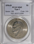 Eisenhower Dollars: , 1976-D $1 Type Two MS65 PCGS. PCGS Population (1263/701). NGC Census: (879/234). Mintage: 82,179,568. Numismedia Wsl. Price...