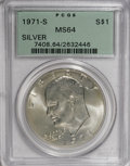 Eisenhower Dollars: , 1971-S $1 Silver MS64 PCGS. PCGS Population (798/3876). NGC Census: (187/1223). Mintage: 2,600,000. Numismedia Wsl. Price f...