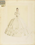 "Movie Posters:Academy Award Winner, Gone with the Wind (MGM, 1939). Original Costume Sketch (17"" X22"")...."