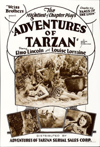 """The Adventures of Tarzan (Adventures of Tarzan Serial Sales, R-1928). One Sheet (28"""" X 41.5""""). Chapter Six --..."""