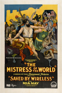 "Mistress of the World (Paramount, 1919). One Sheet (27"" X 41"") Chapter 4 -- ""Saved by Wireless."" Sty..."