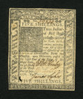 Colonial Notes:Delaware, Delaware January 1, 1776 5s Extremely Fine....