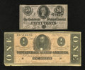 Confederate Notes:Group Lots, T71 $1 1864 Fine. T72 50 Cents 1864 CU.. ... (Total: 2 notes)