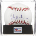 Autographs:Baseballs, Rickey Henderson Single Signed Baseball, PSA Mint 9....
