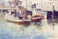 Works on Paper, ERNEST TONK (American, 1889-1989). Boats in Harbor. Watercolor on paper. 7 x 10-1/2 inches (17.8 x 26.7 cm). Signed lowe...