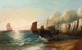 Fine Art - Painting, European:Antique  (Pre 1900), F. OSWALD (19th Century). Ships Unloading on the Shore. Oil on panel. 17 x 27-1/2 inches (43.2 x 69.9 cm). Signed lower ...