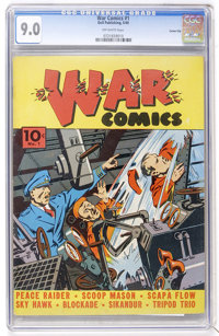 War Comics #1 Carson City pedigree (Dell, 1940) CGC VF/NM 9.0 Off-white pages