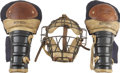 Baseball Collectibles:Hats, 1930s-40s WinnWell Vintage Catcher's Mask and Shin Guards....(Total: 3 items)