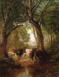 Fine Art - Painting, American:Antique  (Pre 1900), JAMES MCDOUGAL HART (American, 1828-1901). Cattle in a WoodedLandscape. Oil on canvas. 36 x 28 inches (91.4 x 71.1 cm)...