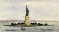 Fine Art - Work on Paper:Watercolor, Attributed to FRÉDÉRIC AUGUSTE BARTHOLDI (French, 1834-1904).New York. Watercolor on paper mounted on board. 3 x 5-1/2...