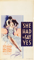 "Movie Posters:Comedy, She Had to Say Yes (Warner Brothers, 1933). Midget Window Card (8""X 14"")...."