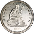 Seated Quarters, 1866 25C Motto MS65 NGC....
