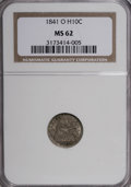 Seated Half Dimes: , 1841-O H10C MS62 NGC. NGC Census: (2/8). PCGS Population (1/9).Mintage: 815,000. (#4329)...