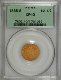 Liberty Quarter Eagles: , 1865-S $2 1/2 XF40 PCGS. PCGS Population (14/31). NGC Census:(6/51). Mintage: 23,376. Numismedia Wsl. Price for NGC/PCGS c...