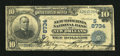 National Bank Notes:Louisiana, New Orleans, LA - $10 1902 Date Back Fr. 618 The New Hibernia NB Ch. # (S)8734. ...