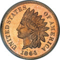Proof Indian Cents, 1864 1C L On Ribbon PR64 Red PCGS....