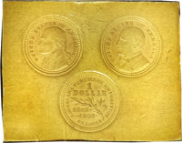 1903 MS Louisiana Purchase Three-Piece Cardboard Die Trial Impressions With Pattern Reverse--Judd-A 1903-1, Pollock-3512...