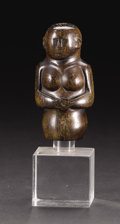 African: , Zulu (?) (South Africa). Half Figure. Horn. Height: 3 5/8 inchesWidth: 1 7/8 inches Depth: 1 ½ inches. This compact, r...