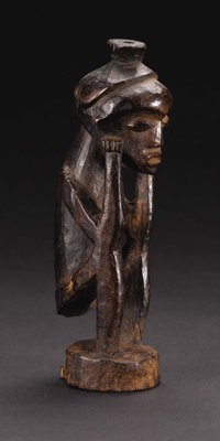 Kanyok or Lulua (?) (Democratic Republic of Congo) Squatting Figure Wood Height: 8 ¾ inches Width: 2 3/8 inches D...
