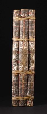 """Kandrian (?) (Papua-New Guinea, New Britain) War Shield Wood, rattan, pigment Height: 52 inches Width: 13 inches  """"..."""